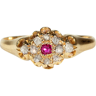 Antique Edwardian Ruby Diamond Cluster Ring Gold