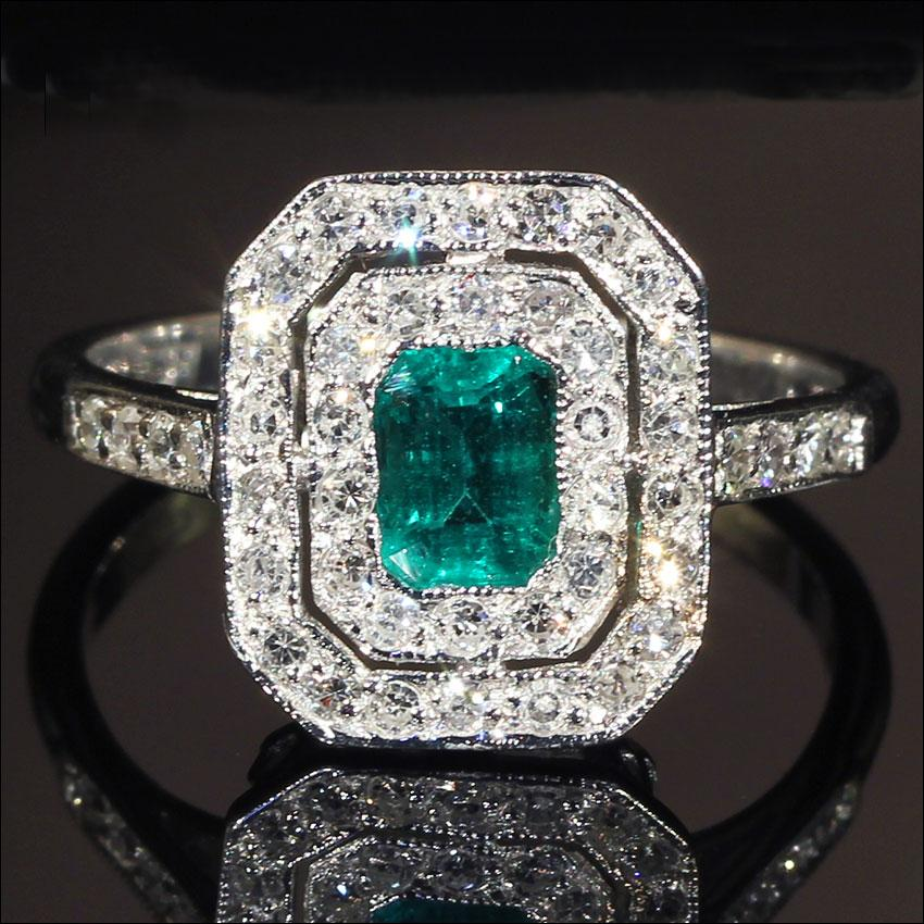 Vintage Emerald And Diamond Double Halo Ring In 18k White