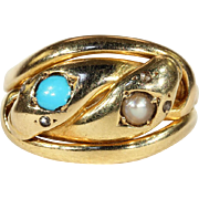 Antique Double Snake Ring with Pearl and Turquoise Heads and Rose Cut Diamond Eyes in 18k Gold