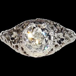 Vintage Art Deco Diamond Solitaire Ring 1.02ct