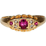 Antique Ruby Diamond Ring 7 Stone Hallmarked 1904