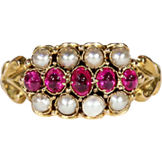 Antique Early Victorian Ruby and Pearl Ring, Hallmarked 1848