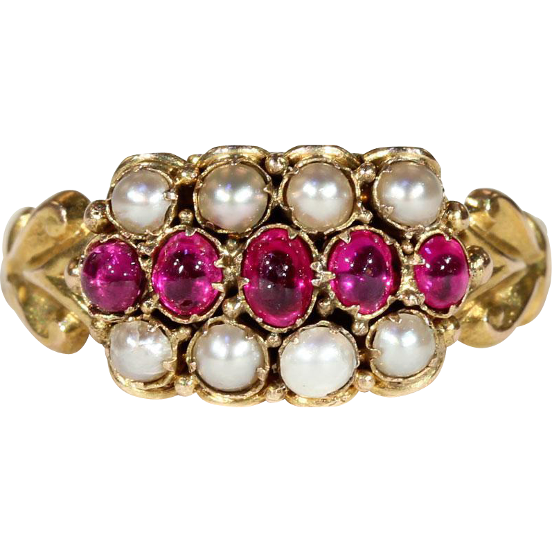 antique early ruby and pearl ring hallmarked