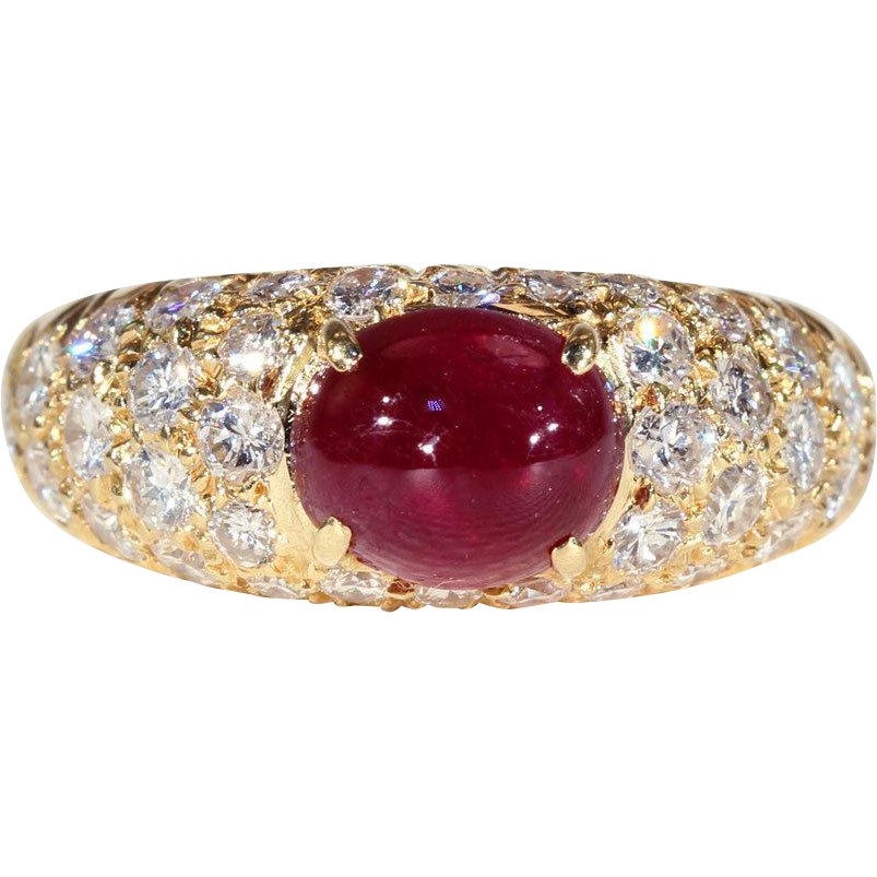 Stunning Vintage Cabochon Ruby And Diamond Ring In 18k