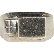 French Silver Retro Signet Ring, c. 1920