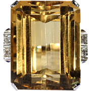 Fabulous Retro 26+ Carat Citrine and Diamond Cocktail Ring, 18k and Platinum c. 1950