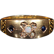 Antique Opal, Diamond and Sapphire Art Nouveau Ring in 9k Gold, Hallmarked