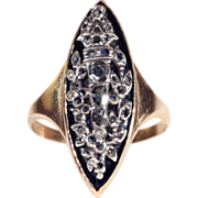 Georgian Rose-Cut Diamond and Onyx Ring, Navette Shaped, 15k Gold