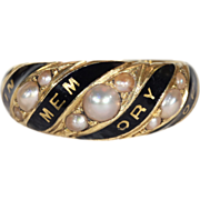 "Antique Victorian Pearl and Enamel ""In Memory Of"" Memorial Ring in 18k Gold, c. 1860"