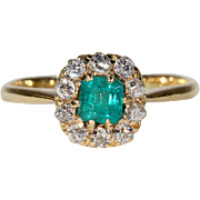 Antique Victorian Emerald Diamond Halo Cluster Ring