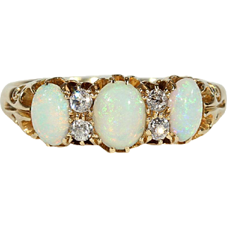 Antique Victorian Opal and Diamond Ring in 18k Gold, Hallmarked 1886