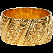 Vintage Engraved Wide Wedding Band 22k Gold
