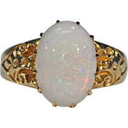 Antique Art Nouveau Opal Ring 18k Gold
