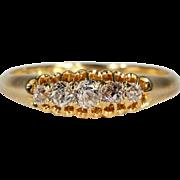 Antique Victorian 5 Stone Diamond Ring, Hallmarked London 1891