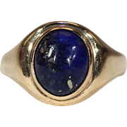 Antique English Victorian Lapis Ring 9k Gold