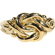 Antique Edwardian Love Knot Ring in 18k Gold, Hallmarked 1905
