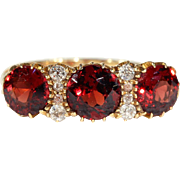 Fabulous Antique Garnet and Diamond Ring, Edwardian in 18k Gold