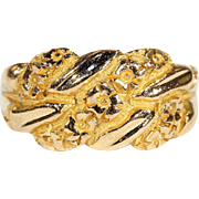 Antique Love Knot Wedding Band Ring with Forget-me-not Flowers in 18k Gold