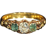Antique Georgian Diamond and Emerald Ring, 3 Stone in 15k Gold
