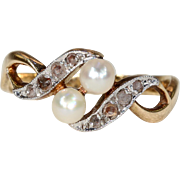 Antique French Art Nouveau Pearl Diamond Ring