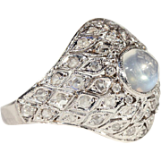 Vintage Art Deco Moonstone and Diamond Platinum Dome Ring