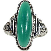 Antique Danish Chrysoprase Silver Ring, c. 1910
