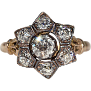 Antique Diamond Star Cluster Engagement Ring, 9k & Silver, Hallmarked 1903
