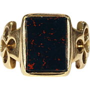 Antique Victorian Bloodstone Ring 18k Gold