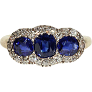 Antique Victorian 3 Stone Sapphire Ring with Diamond Surround in 18k Gold and Silver