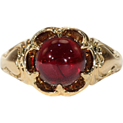 Antique Victorian Cabochon Garnet Ring 18k Gold