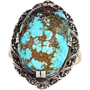 Vintage Arts & Crafts Turquoise and Marcasite Ring in Silver and Gold