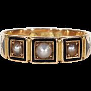 Antique Victorian Pearl Black Enamel Ring