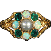 Antique Georgian Memorial Ring dated 1824, Set with Opal, Emerald and Pearl