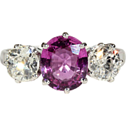 Antique Edwardian Pink Sapphire and Diamond 3 Stone Engagement Ring in Platinum