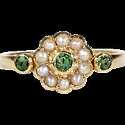 Edwardian Green Garnet Pearl Cluster Ring 18k Gold