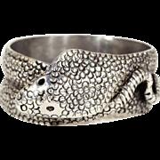 Vintage Mens Silver Snake Ring, Cobra