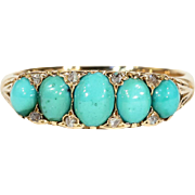 Antique Turquoise and Diamond Ring in 18k Gold, London 1903