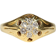 Antique Victorian Diamond Cluster Ring with .3 ctw in 18k Gold