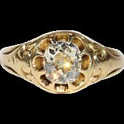 Antique Victorian 1.2ct Diamond Belcher Set Engagement Ring