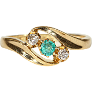 Edwardian Diamond Emerald Gold Bypass Ring