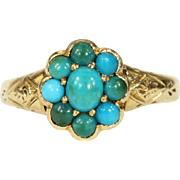 Antique Victorian Turquoise Cluster Ring in 18k Gold