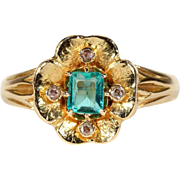 Glowing Antique Emerald and Diamond Flower Ring in 18k Gold