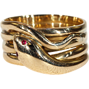 Antique Victorian Gold Wide Snake Ring Ruby Eyes