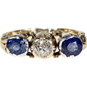 Austro-Hungarian Sapphire Diamond Ring 14k Gold Silver