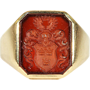Antique Intaglio Seal Ring, Crown and Wings, in 14k Gold, Netherlands
