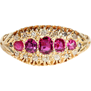 Edwardian 5 Stone Ruby Diamond Ring