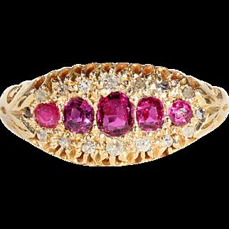 Edwardian 5 Stone Ruby Diamond Ring
