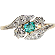 Antique Edwardian Emerald and Diamond Bypass Ring in 18k Gold and Platinum