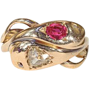 Antique Victorian Ruby and Diamond Double Snake Ring