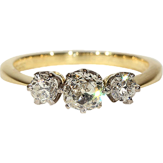 Vintage Classic 3 Stone Diamond Ring in 18k and Platinum